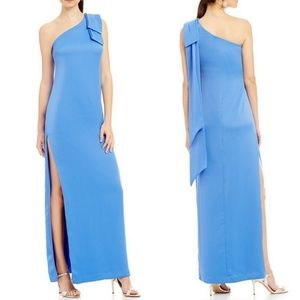 NICOLE MILLER BOW SHOULDER CREPE GOWN